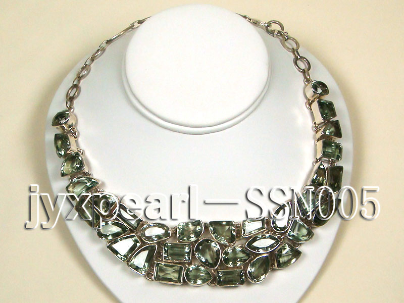 Sterling Silver chain and green amethyst beads Necklace big Image 1