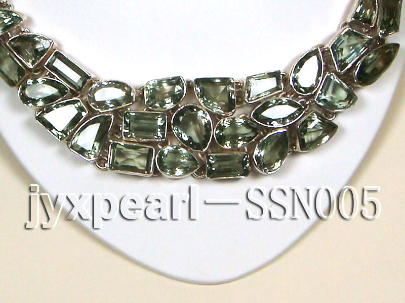 Sterling Silver chain and green amethyst beads Necklace big Image 2