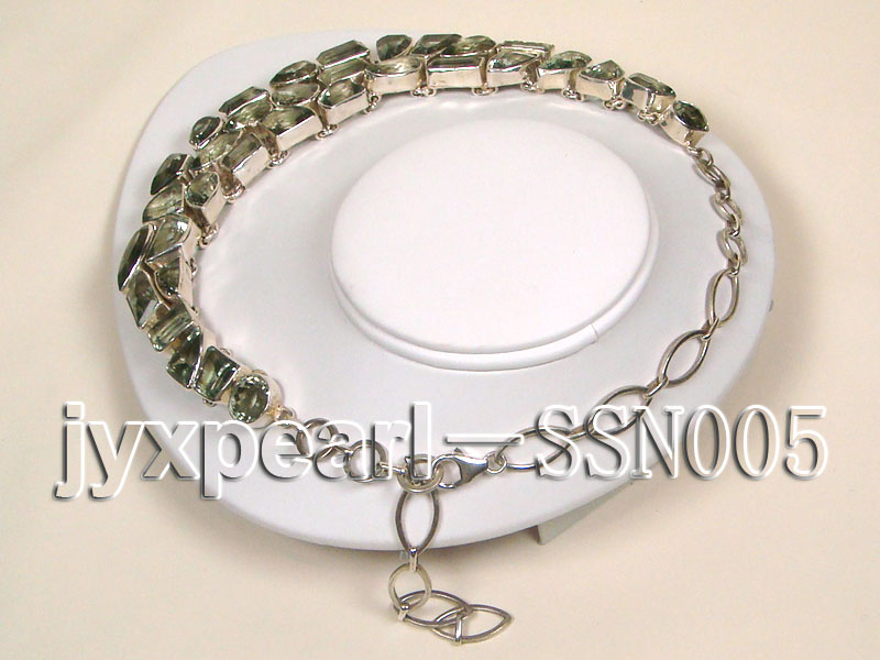 Sterling Silver chain and green amethyst beads Necklace big Image 3