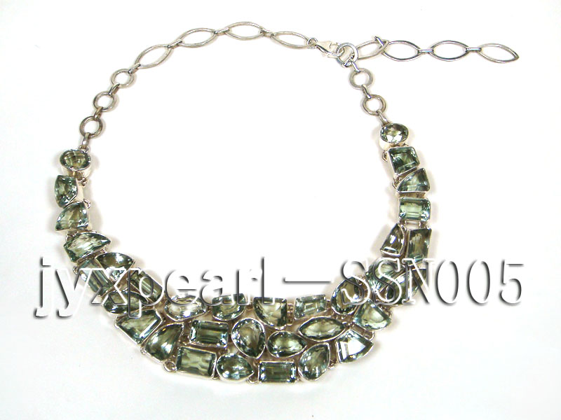 Sterling Silver chain and green amethyst beads Necklace big Image 4