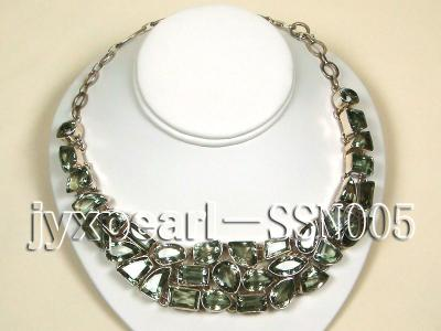 Sterling Silver chain and green amethyst beads Necklace SSN005 Image 1