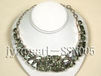 Sterling Silver Necklace Inlaid with Green Crystal Pieces SSN005