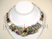 Sterling Silver Necklace with Colorful Crystal, Shell, Turquoise and Agate SSN004