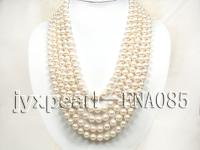 five rows natural white round freshwater pearl necklace with 14k gold clasp FNA085