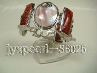 28mm White Shell and Red Sponge Coral Bracelet with 18k Gold Chain SB025