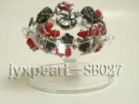 20mm flower abalone shell and red coral  bracelet with 18k gilded chain SB027