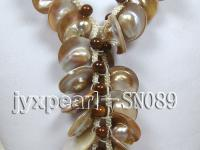 20-30mm Shell and 6mm round agate necklace SN089