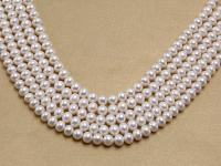Wholesale 9-10mm Nice-quality White Flat Cultured Freshwater Pearl String FPW064