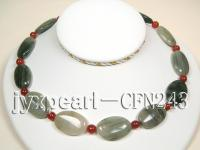 20x30mm Green Rutile Quartz with 8mm Red Agate Necklace CFN243