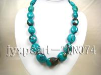 natural 20x25-28x34mm blue oval natural Turquoise Necklace  TQN074