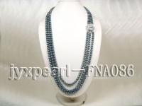 three rows black with green round freshwater pearl necklace with s925 Mabe clasp FNA086