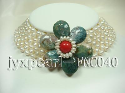 6-7mm White Freshwater Pearl Choker Necklace with Semi-precious Stone Flower FNC040 Image 1