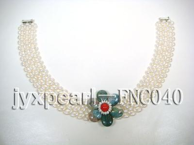6-7mm White Freshwater Pearl Choker Necklace with Semi-precious Stone Flower FNC040 Image 3
