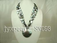 black oval shell necklace with shell pendant SN098