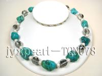 15-25mm blue irregular turquoise and white natural freshwater pearls and faceted crystal n TQN078