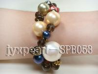 10mm golden shell pearl, 20mm white shell pearl, 7mm dark blue freshwater pearls, 10mm smoky quartz, SPB053