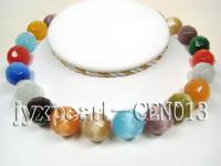 17mm colorful round faceted cat's eye  necklace CEN013
