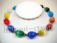 17x23mm colorful cat's eye and 5mm balck round agate necklace CEN015