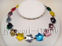 20mm colorful star-shaped cat's eye and 5mm black round agate necklace CEN016