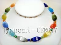 11x25mm colorful shuttle-shaped cat's eye and black round agate necklace CEN017