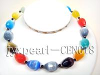 15x20mm colorful drop-shaped  cat's eye and 5mm black round agate necklace CEN018