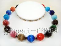 17mm colorful round faceted cat's eye and black round agate necklace CEN019