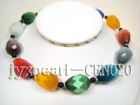 19x25mm colorful drop-shaped cat's eye and 5mm black round  agate necklace CEN020