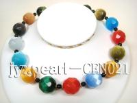22mm colorful round faceted cat's eye necklace CEN021