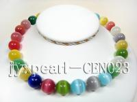 15mm colorful round cat's eye necklace CEN023