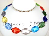 18x25mm colorful leafy shape cat's eye and 5mm black agate necklace CEN024