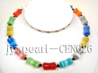 10x19mm colorful bamboo shape cat's eye necklace CEN026