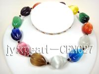 30x20mm colorful  cat's eye and 5mm black round agate necklace CEN027