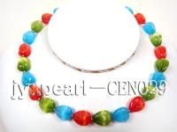 12x14mm colorful faceted cat's eye necklace with a shiny gilded clasp CEN029
