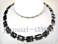 13x17mm Black with white Overtone Rectangular Cat's Eye Necklace CEN031