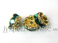 Ten Pieces of 3.5x7mm Yellow Gold Gilt Wheel-Shaped Spacer Inlaid with Green Zircon  KA052-08