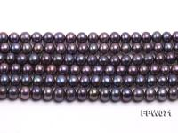 Wholesale 6x7mm Black Flat Cultured Freshwater Pearl String FPW071