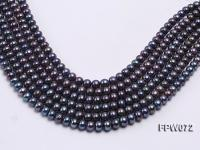 Wholesale 8x9mm Black Flat Cultured Freshwater Pearl String FPW072