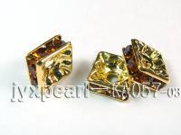 4x8x8mm Square Shape Golden Brown  Zircon Spacer  KA057-03