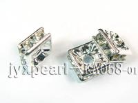 3.5x7x7mm  Square Shape White  Zircon Spacer    KA058-01
