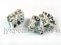 3x6x6mm  Square Shape White  Zircon Spacer    KA059-01