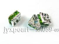 3x6x6mm  Square Shape Green  Zircon Spacer    KA059-03
