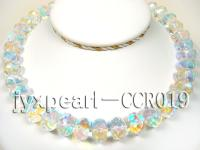 White Faceted Crystal Beads Necklace with Colorful Overtones CCR019