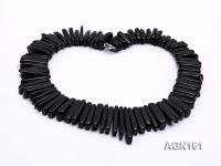 8-30mm black tooth shapes agate necklace AGN161