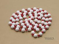 Round White Tridacna Beads and Red Coral Beads Necklace TRS021