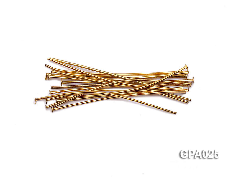 0.7x40mm T-shaped Gold Plated Copper Needles big Image 1