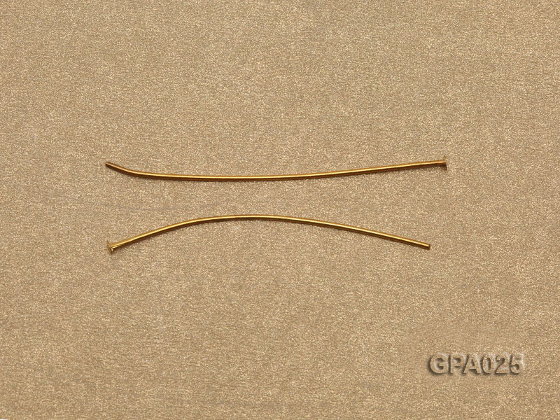 0.7x40mm T-shaped Gold Plated Copper Needles big Image 2