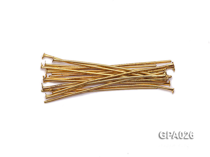 1x40mm T-shaped Gold Plated Copper Needles big Image 1