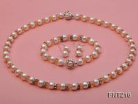White Freshwater Pearl, Crystal Beads and Zircons Necklace, Bracelet and Stud Earrings Set FNT216