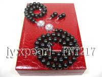 black flat freshwater pearl necklace and bracelet set FNT217