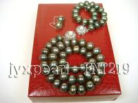 black flat freshwater pearl necklace,bracelet and earring set FNT219